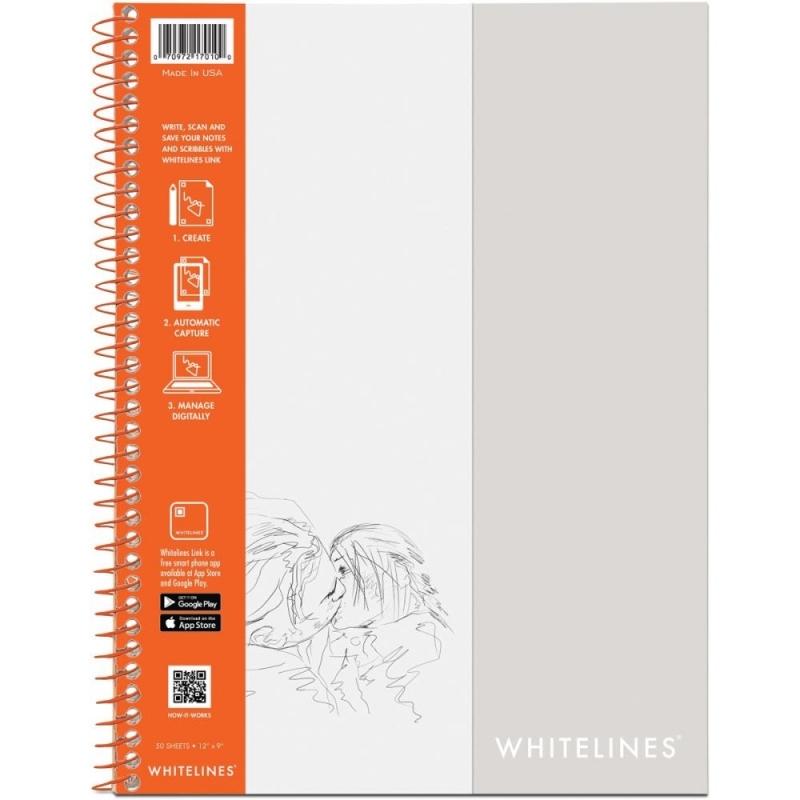 """Whitelines Wirebound Plain Sketch Paper Notebook 12""""X9"""""""