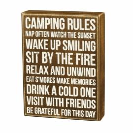 Box Sign - Camping Rules