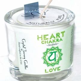 Heart chakra soy votive candle