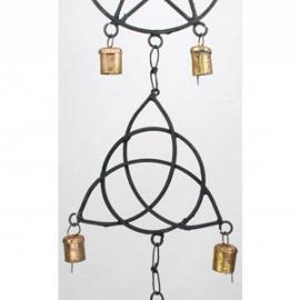 "Pentagram, Triquetra, Solomon's Seal wind chime 5"""