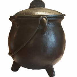 "8"" cast iron cauldron w/ lid"